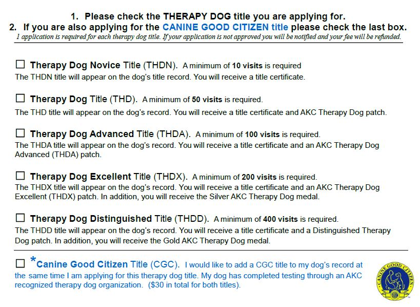 AKC Therapy Dog Program Requirements